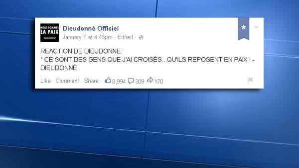 Réaction de Dieudonné quelques heures après l'attaque de Charlie Hebdo