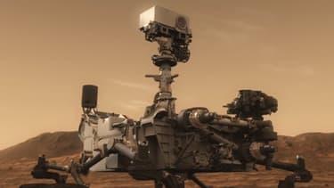 Vue d'artiste de Curiosity sur Mars.
