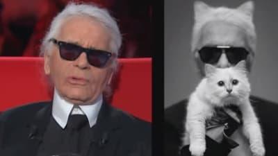 """Karl Lagerfeld dans l'émission """"Le divan"""", le 24 février 2015."""