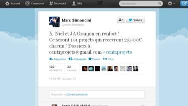 Le concours a été lance sur le compte Twitter de Marc Simoncini