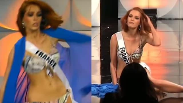 Maëva Coucke chute lors du concours Miss Univers