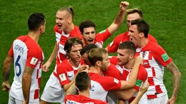 L'équipe de foot croate le 15 juillet 2018 lors du match contre la France.
