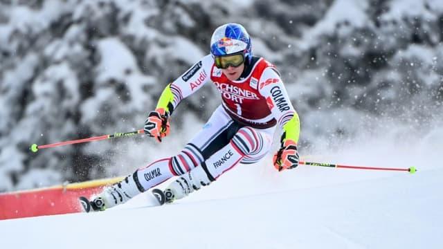 Alexis Pinturault lors de la 1re manche du slalom géant de Lenzerheide, en Suisse, le 20 mars 2021