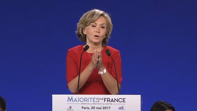 Valérie Pécresse lors du meeting LR de samedi à Paris.