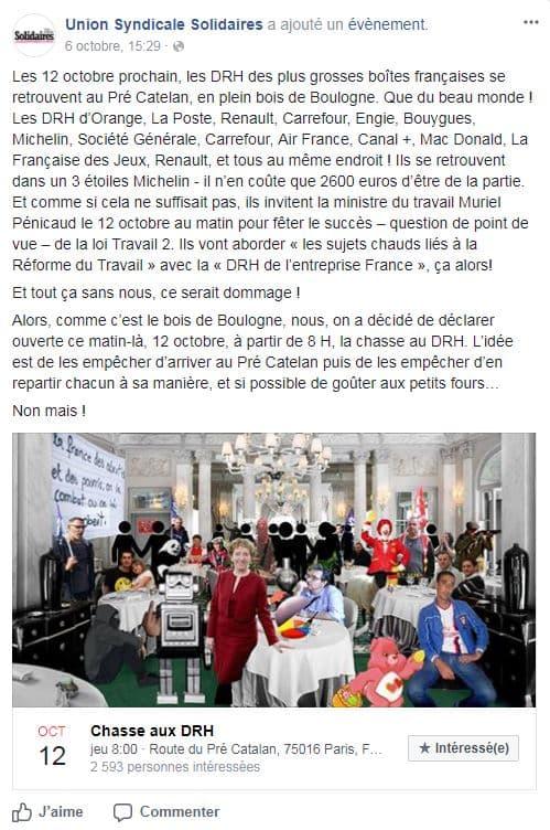"""Appel à la manifestation et à la """"chasse au DRH"""" lancé par Solidaires"""