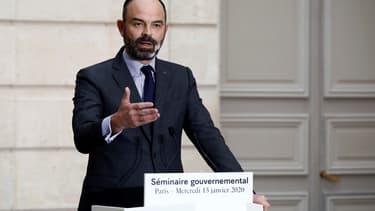 Le Premier ministre Edouard Philippe lors d'un discours à l'Elysée, le 15 janvier 2020
