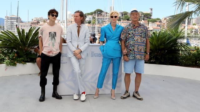 L'acteur Timothee Chalamet, le réalisateur Wes Anderson et les acteurs Tilda Swinton et  Bill Murray au festival de Cannes.