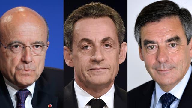 De gauche à droite, Alain Juppé, Nicolas Sarkozy et François Fillon