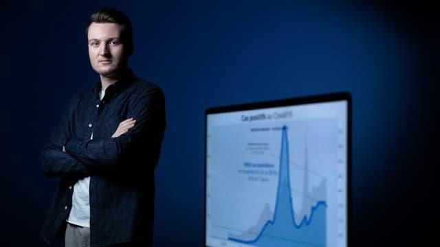 """Guillaume Rozier, le fondateur de CovidTracker et créateur de la plateforme """"Vite ma dose""""."""