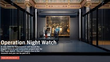 """La restauration de """"La Ronde de nuit"""" de Rembrandt, au Rijksmuseum d'Amsterdam."""