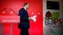 Jean-Christophe Cambadélis annonçant sa démission après la défaite aux législatives.