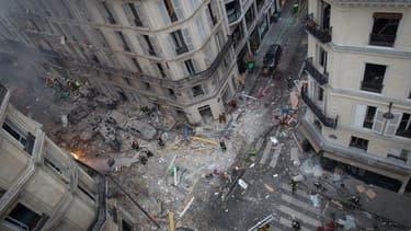 Les lieux de l'explosion rue de Trévise, samedi 12 janvier 2019 dans le 9e arrondissement de Paris, probablement dûe à une fuite de gaz.