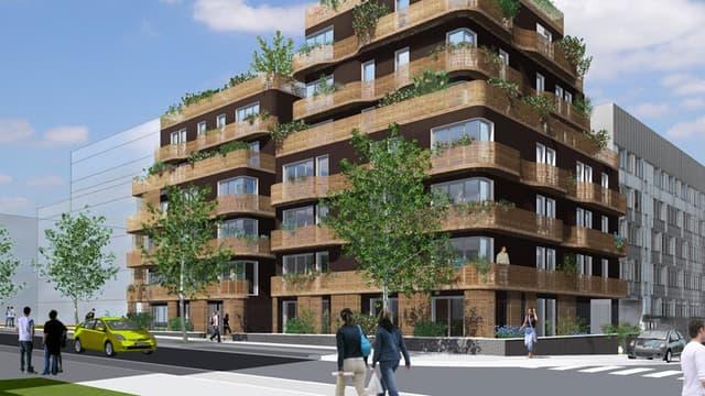 Le Candide à Vitry-sur-Seine conçu par l'architecte Bruno Rollet: une trentaine de logements sociaux BBC comme des maisons superposées.