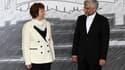 Catherine Ashton, la porte-parole de la diplomatie européenne qui coordonne les six puissances impliquées dans la recherche d'une solution à la crise du nucléaire iranien, en compagnie de Saeed Jalili, le chef des négociateurs iraniens. Les discussions su