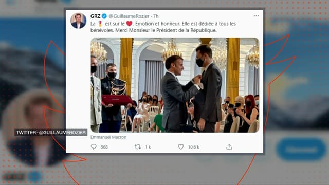 Le fondateur de CovidTracker, l'ingénieur Guillaume Rozier, a été décoré de l'Ordre national du mérite à l'Élysée, lors d'une cérémonie en présence d'Emmanuel Macron, le 21 juillet 2021.