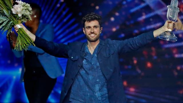 Duncan Laurence, quelques secondes après sa victoire à l'Eurovision 2019