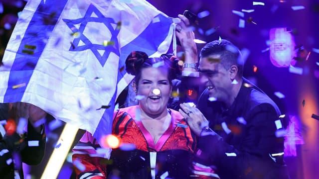 L'israélienne Netta Barzilai, lors de sa victoire à l'Eurovision, le 12 mai 2018.