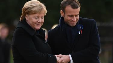 Angela Merkel et Emmanuel Macron lors des commémorations du centenaire de l'armistice à Rethondes, le 10 novembre 2018