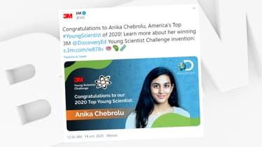 Anika Chebrolu a remporté le concours scientifique 3M Young Scientist Challenge.
