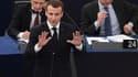 Emmanuel Macron au Parlement européen mardi 17 avril.