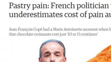 """""""Jean-François Copé a vécu un moment Marie-Antoinette quand il a dit sur une station radio qu'un pain au chocolat coûtait juste 10 ou 15 centimes"""", écrit le quotidien britannique The Guardian ce mardi sur son site Internet."""