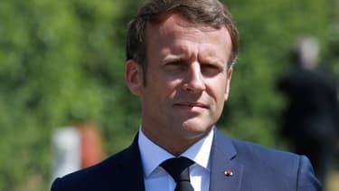 Le président Emmanuel Macron, le 26 mai 2020 à Etaples, près du Touquet