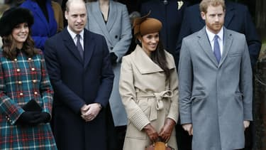 Kate Middleton, le prince William, Meghan Markle et le prince Harry à la messe de Noël à Sandringham, le 25 décembre 2017