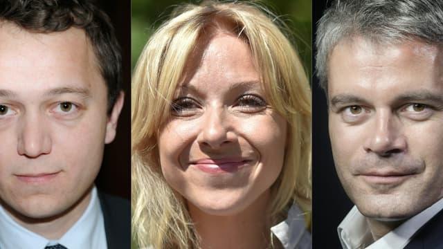 Les trois candidats à la présidence du parti Les Républicains. De gauche à droite: Maël de Calan, Florence Portelli et Laurent Wauquiez