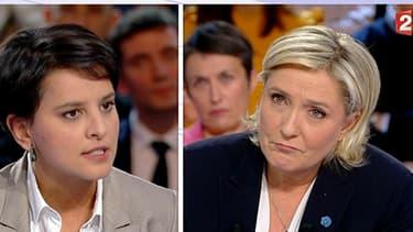 Najat Vallaud-Belkacem face à Marine Le Pen sur le plateau de L'émission politique.
