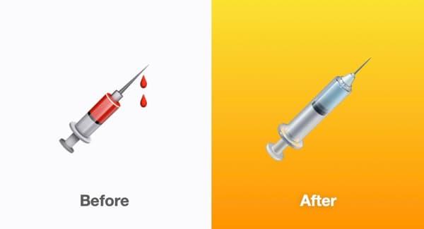 L'ancienne et la nouvelle version de l'émoji seringue d'Apple
