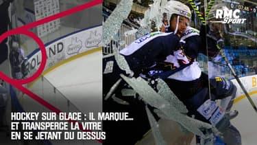 Hockey sur glace : Il marque... et transperce la vitre en se jetant du dessus