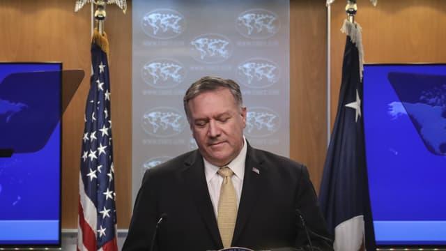 Mike Pompeo, Secrétaire d'Etat des Etats-Unis, lors d'une conférence de presse le 18 novembre 2019 à Washington
