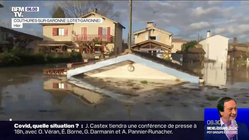 Crues: la commune de Couthures-sur-Garonne encerclée par les eaux