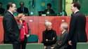 Les ministres des Finances suédois Anders Borg, espagnole Elena Salgado, française Christine Lagarde, allemand Wolfgang Schäuble et britannique George Osborne, à Bruxelles. Les ministres des Finances de l'Union européenne ont approuvé dimanche un plan d'a