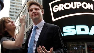 Andrew Masson au moment de l'introduction en Bourse de Groupon, en 2011.
