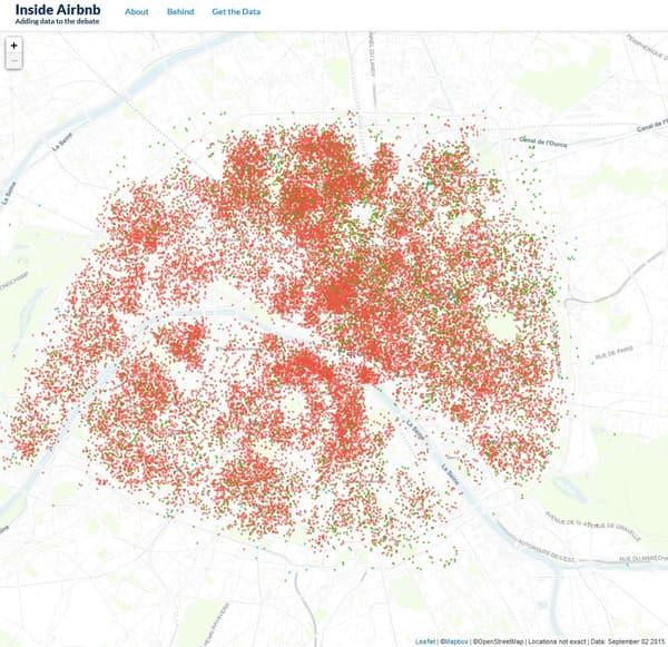 Le site Inside Airbnb a recensé sur une carte interactive toutes les données de Airbnb à Paris.