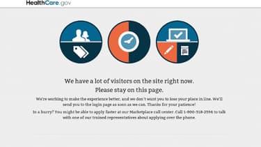 """""""Nous avons beaucoup de visiteurs sur le site en ce moment. Veuillez, s'il vous plaît rester sur cette page"""". Beaucoup d'Américains patientent encore."""
