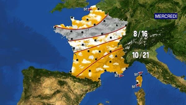 Les prévisions météo du mercredi 26 mai 2021.