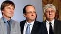Nicolas Hulot, François Hollande et le ministre de l'Ecologie Philippe Martin à Paris le 5 décembre 2013.