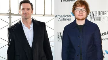 Hugh Jackman (à gauche), Ed Sheeran (à droite)