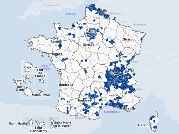 La carte du taux d'incidence du Covid-19 par communauté de communes, en date du 18 octobre 2020.