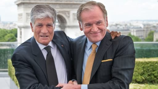 Maurice Levy, patron de Publicis, et John Wren, d'Omnicom, lors de leur conférence de presse commune dimanche 28 juillet.