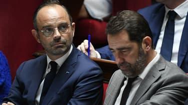 Le Premier ministre Edouard Philippe et le chef de la République en marche et secrétaire d'Etat aux relations avec le Parlement Christophe Castaner, le 24 juillet 2018 lors d'une session de QAG à l'Assemblée.