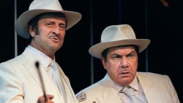 Michel Galabru et Georges Descrières pendant une répétition de Dom Juan en 1987.
