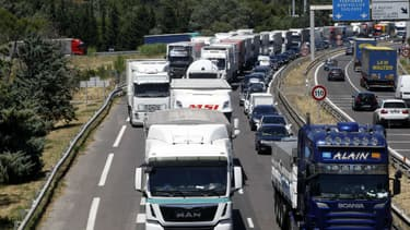 Un embouteillage sur l'autoroute A9 (photo d'illustration).