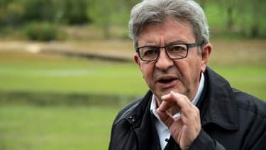 Jean-Luc Melenchon, lors d'une visite dans l'est de la France à  Villers-Le-Lac, le 2 octobre 2020