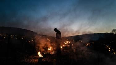 Un vigneron allume des bougies pour protéger ses vignes du gel à côté de Chablis, le 7 avril