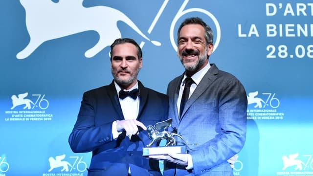 L'acteur Joaquin Phoenix et le réalisateur Todd Phillips à la Mostra de Venise, en septembre 2019