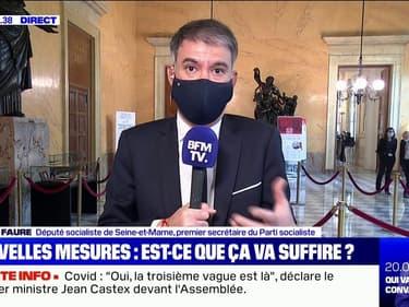 """Nouvelles annonces à l'Assemblée: Olivier Faure (PS) assure qu'il ne votera pas et dénonce une """"mise en scène"""" du gouvernement"""