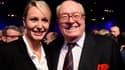 Marion Maréchal-Le Pen et son grand-père lors d'un meeting le 17 novembre à Paris.